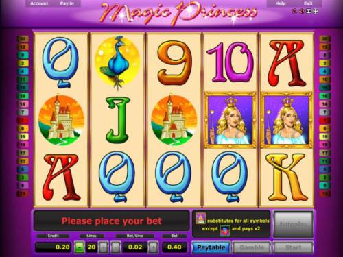 Magic Princess Review Slots Main game board featuring five reels and 20 paylines with a $10,000 max payout