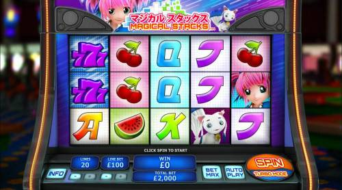 Magical Stacks Review Slots An Asian cartoon themed main game board featuring five reels and 20 paylines with a $50,000 max payout
