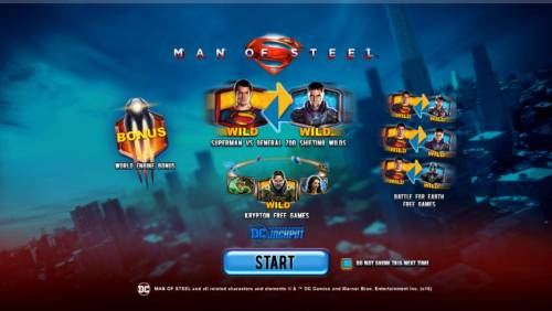 Man of Steel Review Slots Game features include: Progressive Jackpots, World Engine Bonus, Supermand VS General Zod Shifting Wilds, Krypton Free Games and Battle for Earth Free Games