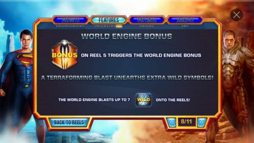 Man of Steel Review Slots World Engine Bonus - Bonus symbol on reel 5 triggers the World Engine Bonus, randomly changing up to 7 symbols into wilds