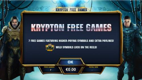 Man of Steel Review Slots Krypton Free Games - 7 free games featuring higher paying symbols and extra paylines. General Zod wild symbols lock on the reels during the Krypton Free Games.