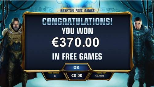 Man of Steel Review Slots Krypton Free Games feature pays out a total of 370.00.