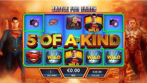 Man of Steel Review Slots With Superman winning the battle a Five of a Kind is triggered resulting in a big win during the Battle for Earth bonus feature.