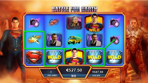Man of Steel Review Slots Multiple winning paylines triggers a 527.50 big win!