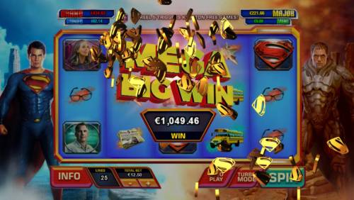 Man of Steel Review Slots A mega win awarded as a result of bonus feature game play.