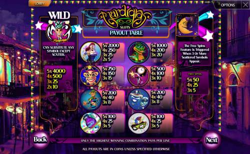 Mardi Gras Review Slots Paytable