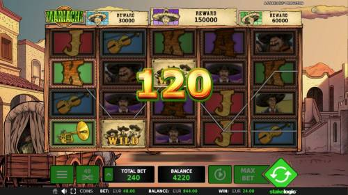 Mariachi Review Slots A winning Three of a Kind.