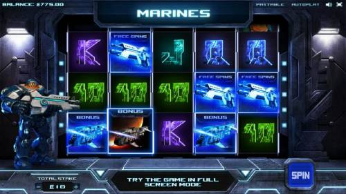 Marines Review Slots bonus round and free spins triggered simultaneously