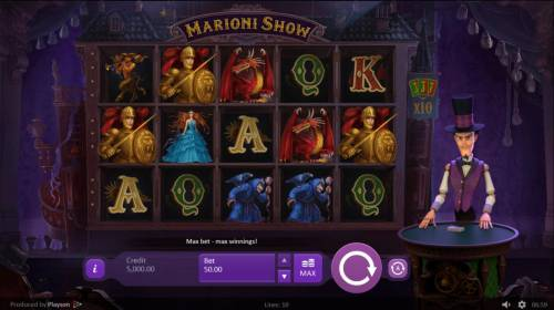 Marioni Show Review Slots Main game board featuring five reels and 10 paylines with a $1,250 max payout.