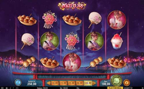 Matsuri Review Slots Main game board featuring five reels and 25 paylines with a $300,000 max payout.