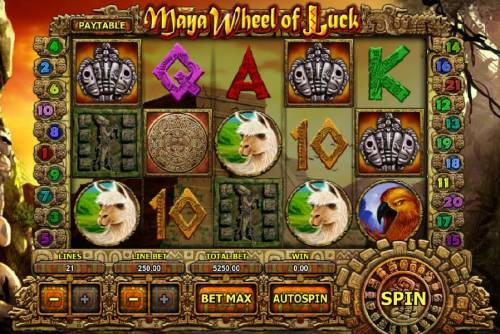 Maya Wheel of Luck Review Slots Main game board featuring five reels and 21 paylines with a $2,500,000 max payout