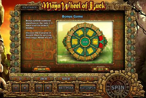 Maya Wheel of Luck Review Slots Bonus symbols scattered anywhere on the reels 2, 3 and 4 start the bonus
