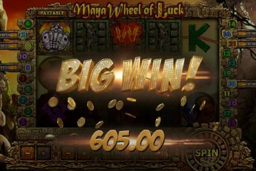 Maya Wheel of Luck Review Slots Multiple winning paylines triggers a 605.00 big win!