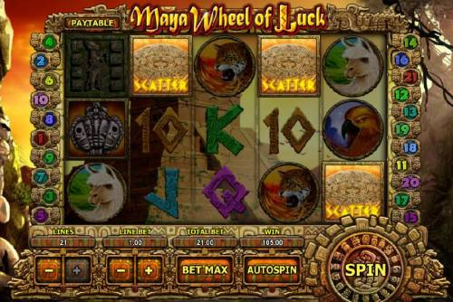 Maya Wheel of Luck Review Slots Three scatter symbols trigger a 100.00 payout