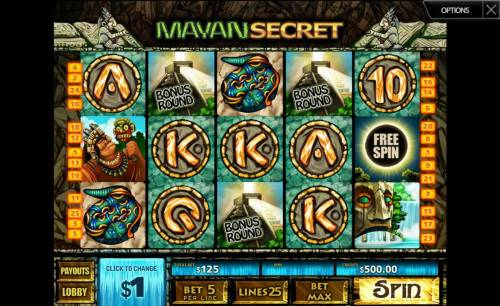 Mayan Secret Review Slots Main game board featuring five reels and 25 paylines with a $15,000 max payout.