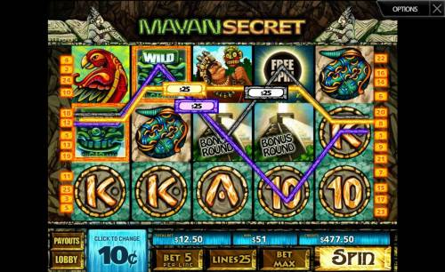 Mayan Secret Review Slots A 51.00 jackpot triggered by multiple winning paylines.