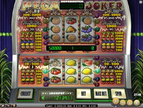 Mega Joker Review Slots main game board featuring three reels and five paylines