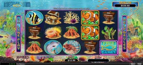 Megaquarium Review Slots A fish themed main game board featuring five reels and 50 paylines with a progressive jackpot max payout.