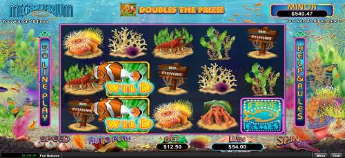 Megaquarium Review Slots A pair of wild symbols activates a pair of paylines leading to a 54.00 payout.