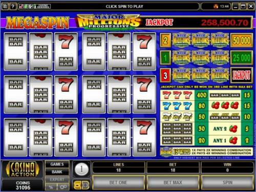 MegaSpin - Major Millions 3-Reel Review Slots Main game board featuring three reels and 3 paylines with a $50,000 max payout