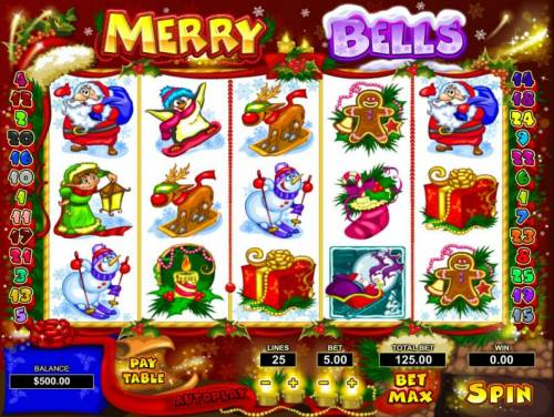 Merry Bells Review Slots Main game board featuring five reels and 25 paylines with a $50,000 max payout
