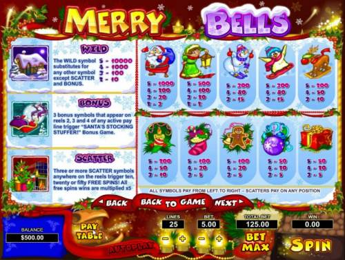 Merry Bells Review Slots Scatter, Wild, Bonus and slot game symbols paytable.