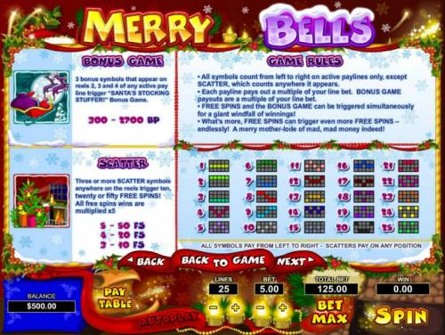Merry Bells Review Slots 3 bonus symbols that appear on reels 2, 3 and 4 of any active payline trigger Santas Stocking Stuffer bonus game. Three or more scatter symbols anywhere on the reels trigger ten, twenty or fifty free spins! All free spins wins are multiplied by x5. Genera