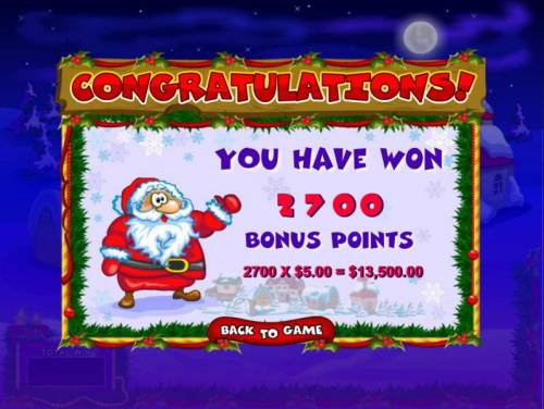 Merry Bells Review Slots 2700 bonus points awarded for a 13,500.00 total payout.