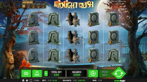 Midnight Rush Review Slots Main game board featuring five reels and 10 paylines with a $240,000 max payout.