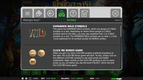 Midnight Rush Review Slots Expanded Wild Symbols Rules and Click Me Bonus Rules