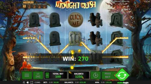 Midnight Rush Review Slots A pair of win lines triggers a 270 coin jackpot.