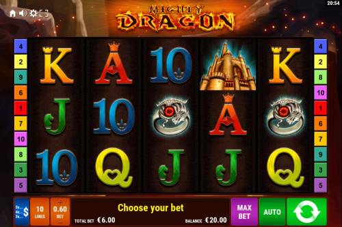 Mighty Dragon Review Slots Main game board featuring five reels and 10 paylines with a $1,500 max payout.