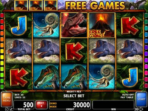 Mighty Rex Review Slots A dinosaur themed main game board featuring five reels and 25 paylines with a $300,000 max payout