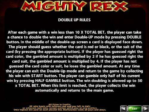 Mighty Rex Review Slots Double Up Gamble Feature Rules