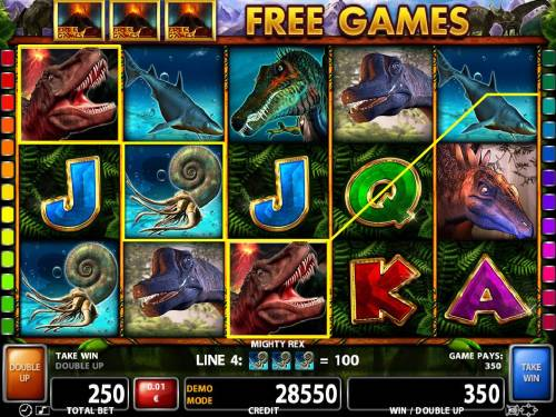 Mighty Rex Review Slots A pair of T-rex wild symbols triggers multiple winning paylines.