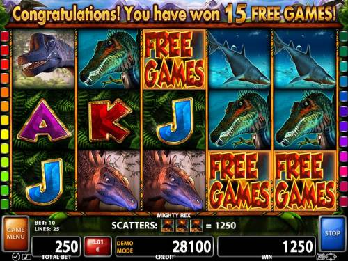 Mighty Rex Review Slots Thre volcano scatter symbols anywhere on the reels triggers the Free Games bonus feature.