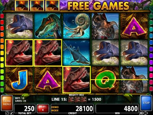 Mighty Rex Review Slots T-rex wild symbols trigger multiple winning combinations leading to a 4800 coin jackpot.