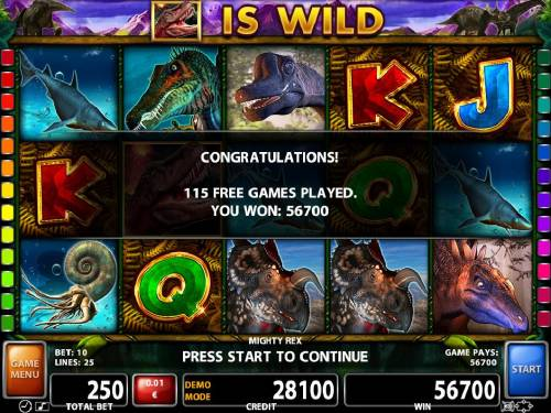 Mighty Rex Review Slots A 56700 coin Super Mega Win awarded after playing 115 Free Games.