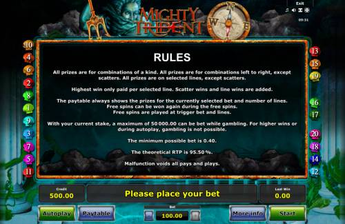 Mighty Trident Review Slots General Game Rules