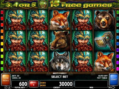 Misty Forest Review Slots A mythical forest themed main game board featuring five reels and 20 paylines with a $30,000 max payout