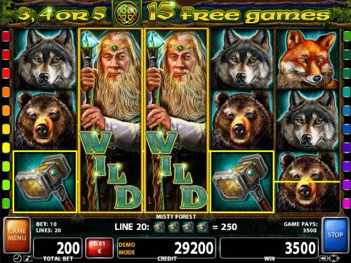 Misty Forest Review Slots A pair of stacked wilds triggers a 3500 coin jackpot win.