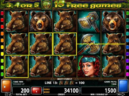 Misty Forest Review Slots Wild Boar symbols form multiple winning paylines on reels 1, 2 and 3.