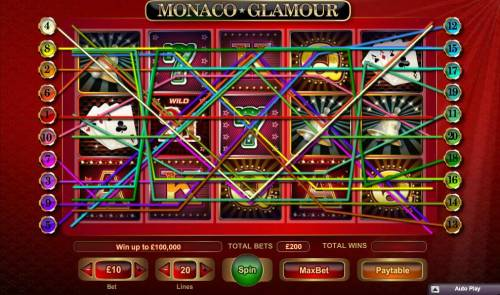 Monaco Glamour Review Slots Main game board featuring five reels and 20 paylines with a $100,000 max payout