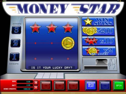 Money Star Review Slots main game board featuring 3 reels and a single payline