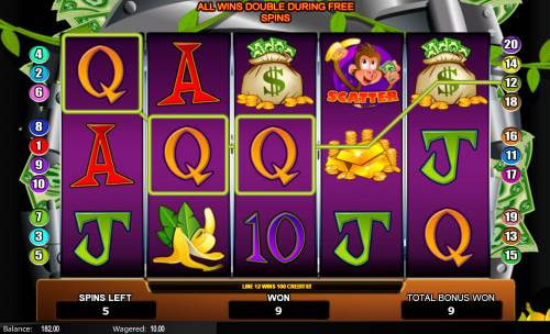Monkey in the Bank Review Slots Free Spins Game Board