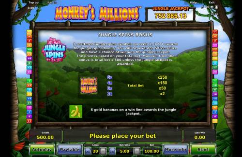 Monkey's Millions Review Slots Jungle Spins Bonus - 3 scattered jungle spins symbols on reels 2, 3 and 4 awards the jungle spins bonus. You will be awarded 5 free spins, and have a chance of winning the jungle jackpot.