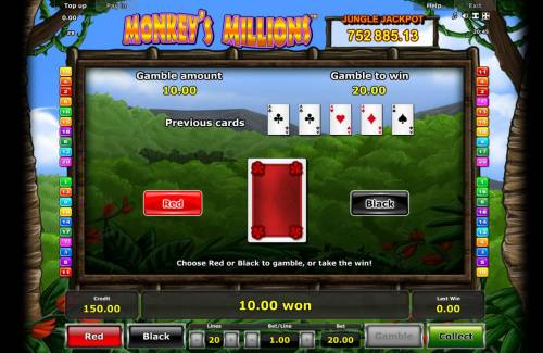 Monkey's Millions Review Slots Gamble Feature - To gamble any win press Gamble then select Red or Black.