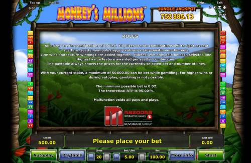 Monkey's Millions Review Slots General Game Rules - The theoretical average return to player (RTP) is 95.00%.