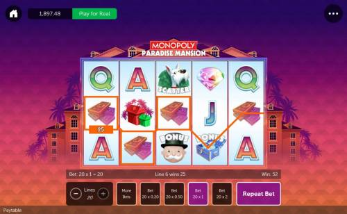 Monopoly Paradise Mansion Review Slots A pair of wiining paylines
