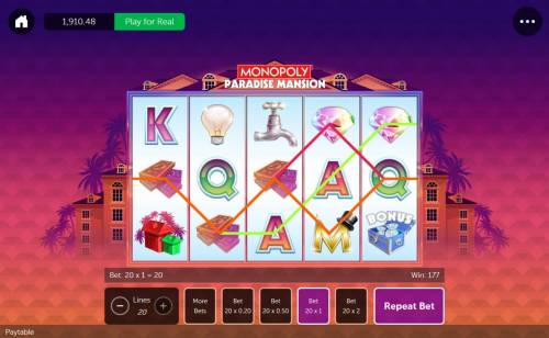 Monopoly Paradise Mansion Review Slots Multiple winning paylines triggers a 177.00 big win!